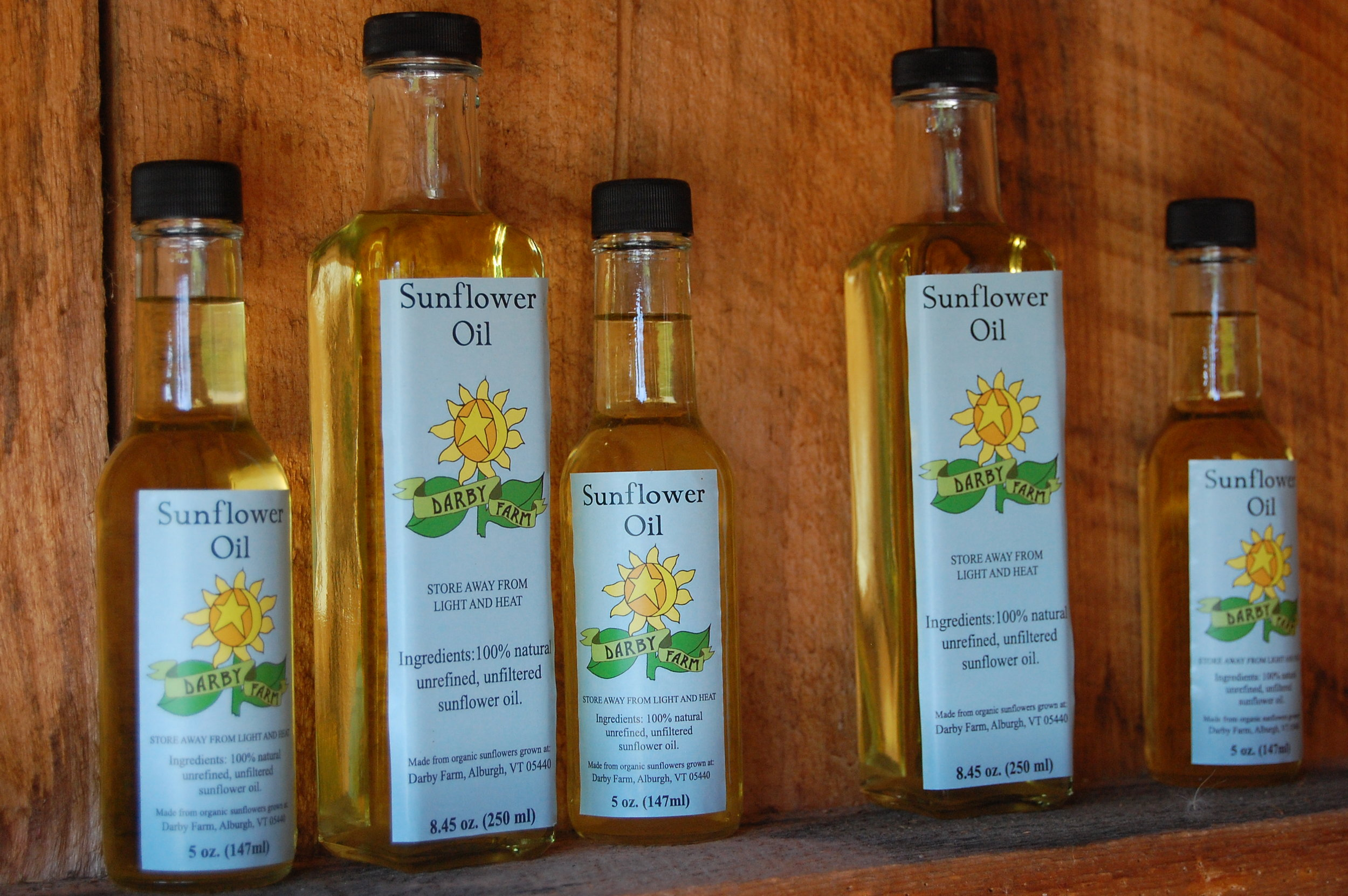 Sunflower oil produced from the sunflowers grown at Darby Farm