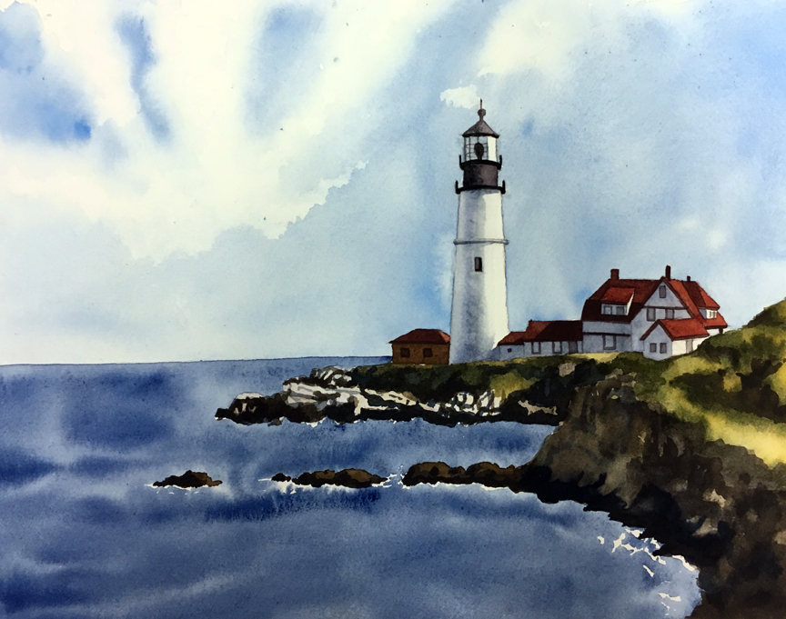 Maine Lighthouse Watercolor