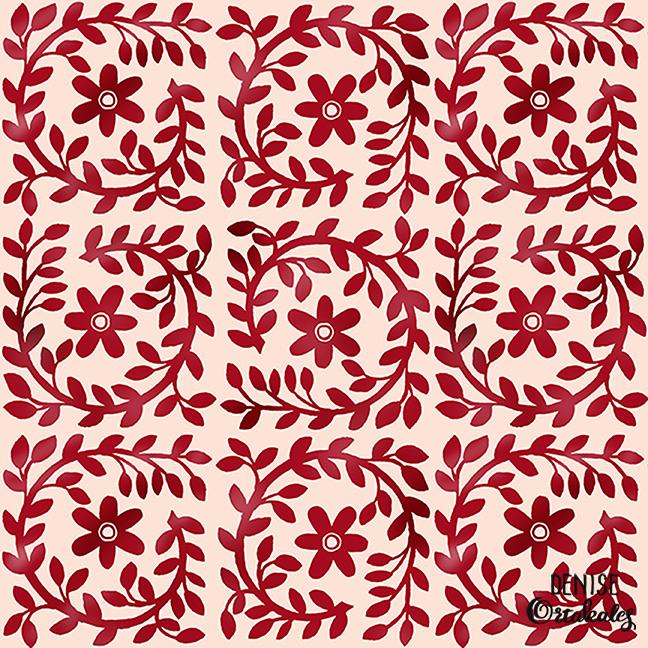 Folk Art Quilt Pattern, mixed media © Denise Ortakales