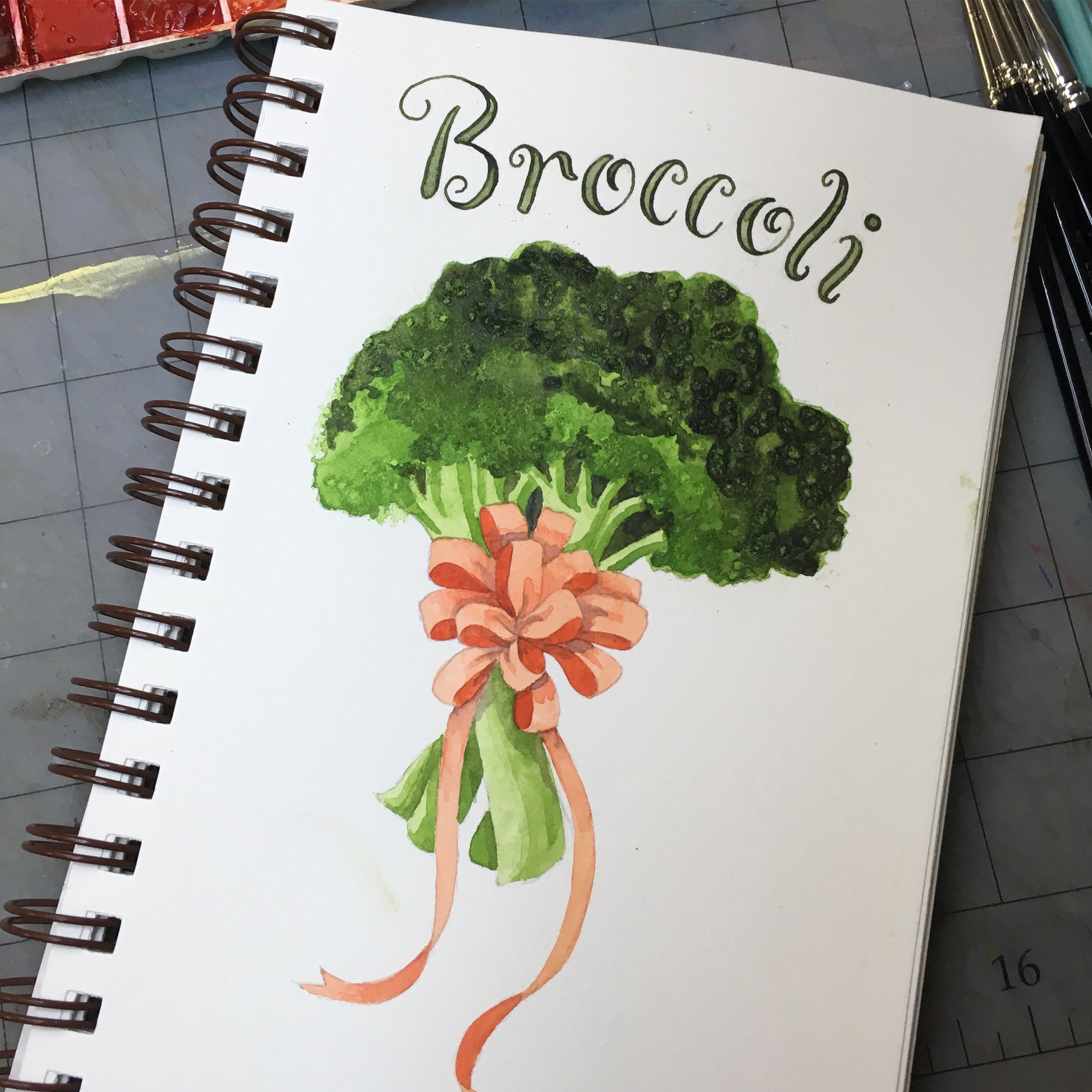 Broccoli, watercolor © Denise Ortakales