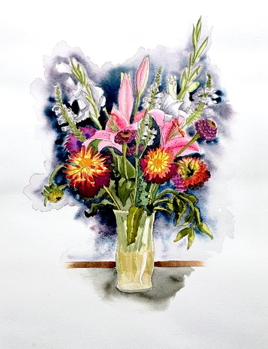 Pike Place Flowers, watercolor © Denise Ortakales