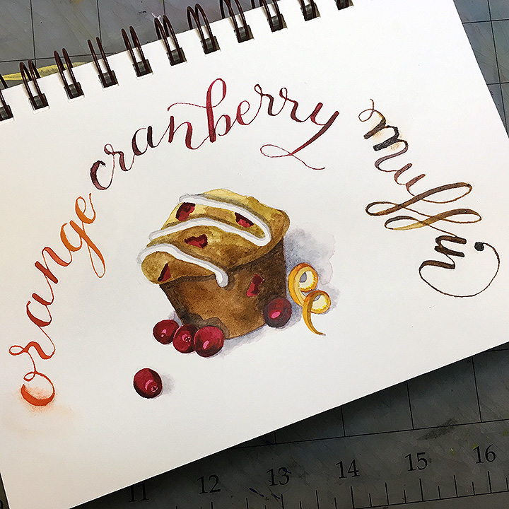 Cranberry-Orange Muffin, watercolor © Denise Ortakales