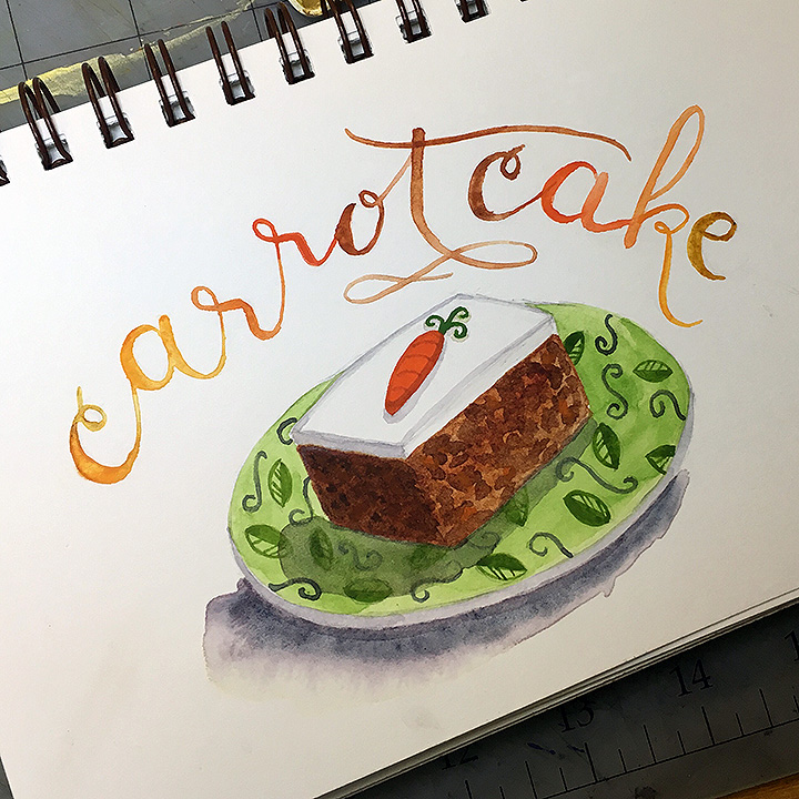 Carrot Cake, watercolor © Denise Ortakales