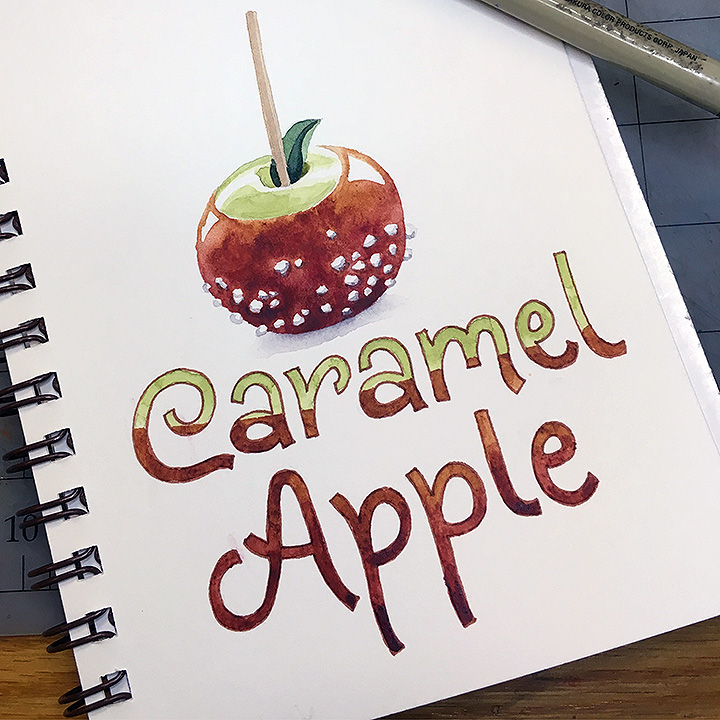 Caramel Apple, watercolor © Denise Ortakales