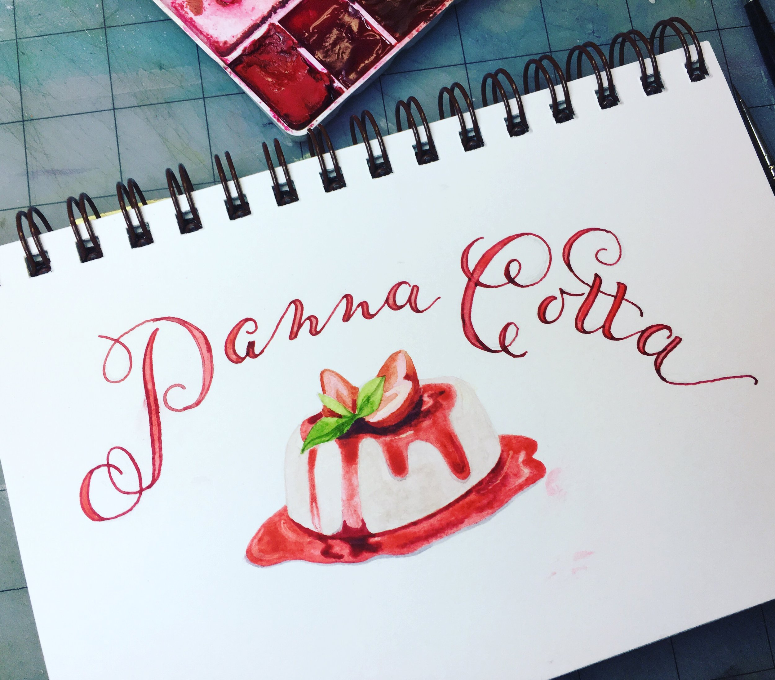 Panna Cotta, watercolor © Denise Ortakales