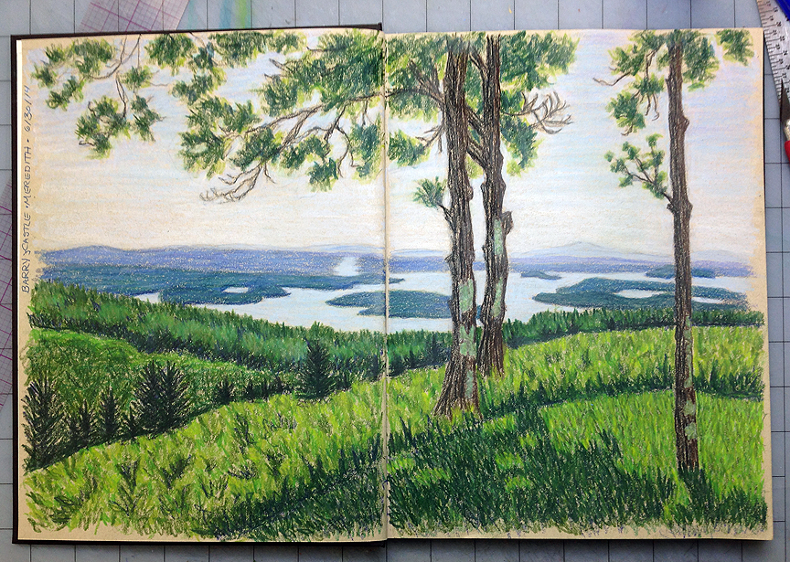 View of Lake Winnipesaukee from Red Hill, colored pencil © Denise Ortakales