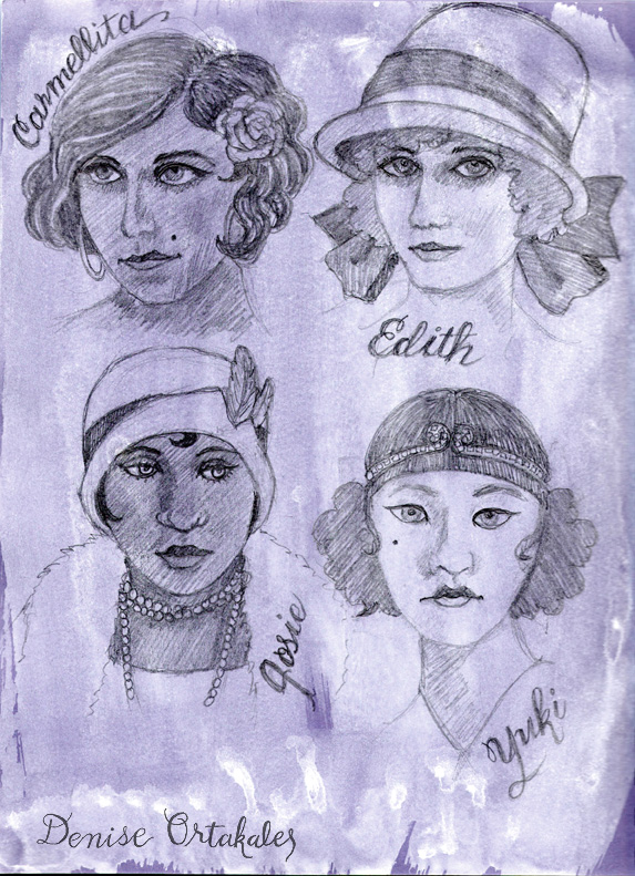 1920 Beauties, purple paper, white acrylic wash, graphite © Denise Ortakales