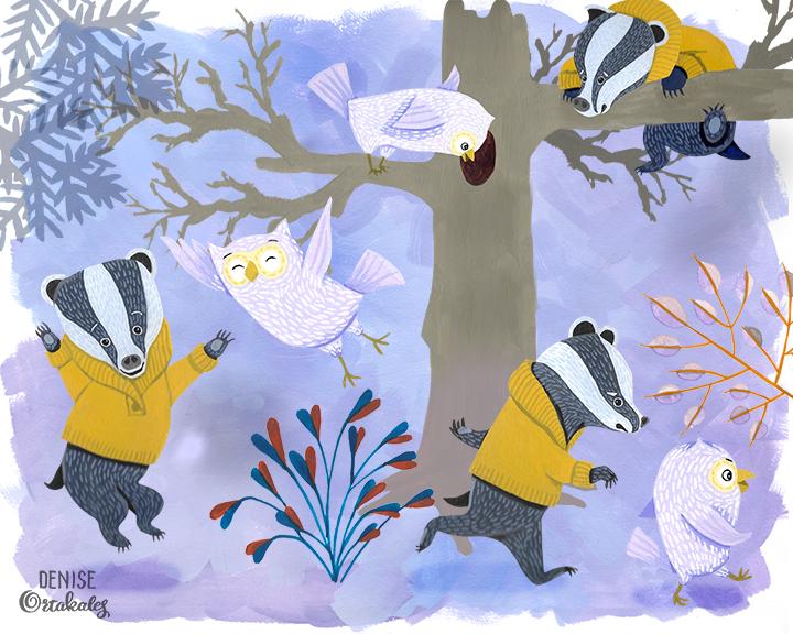 Badger and Owl studies, gouache © Denise Ortakales