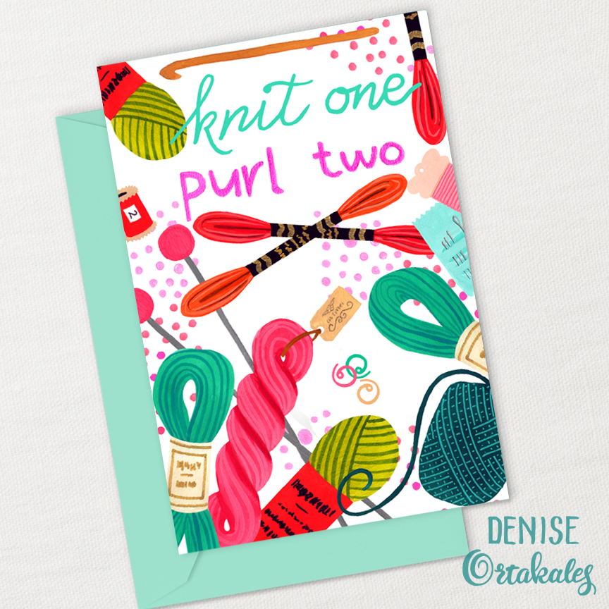 Knit One, Purl Two Card, gouache © Denise Ortakales