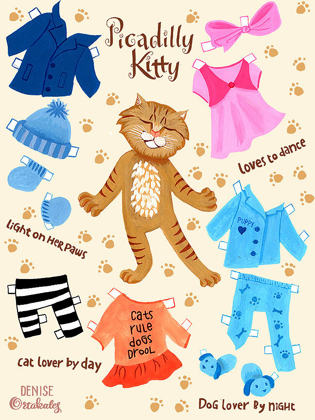 Picadilly Kitty Paperdoll, gouache © Denise Ortakales