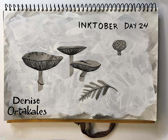 Mushrooms, India Ink and white gouache © Denise Ortakales