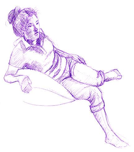 Model pose 2, purple ball point pen © Denise Ortakales