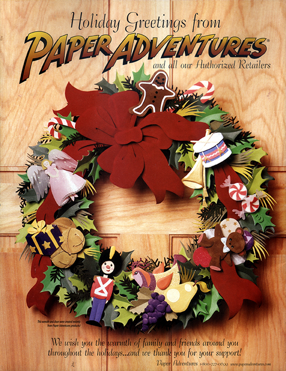 Christmas Wreath, paper sculpture © Denise Ortakales