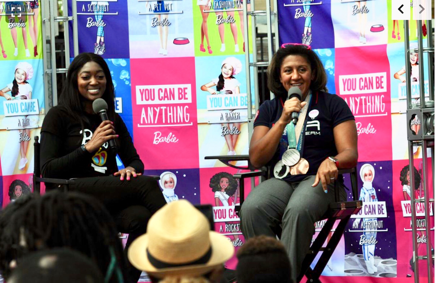 """barbie """"be anything"""" tour - Britney interviewing Elana Meyers Taylor, triple Olympic Bobsled Medalist, for the """"You Can Be Anything Tour"""" by Barbie."""