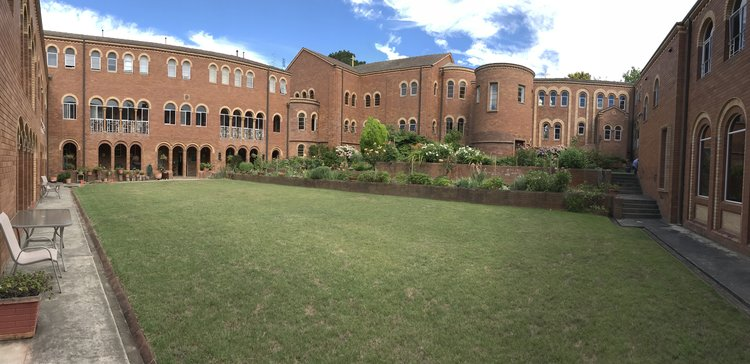 A panoramic view of the inner courtyard at the retreat centre.