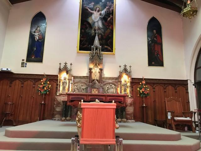 Bishop Willson lies in state at St Joseph's Church in Hobart.