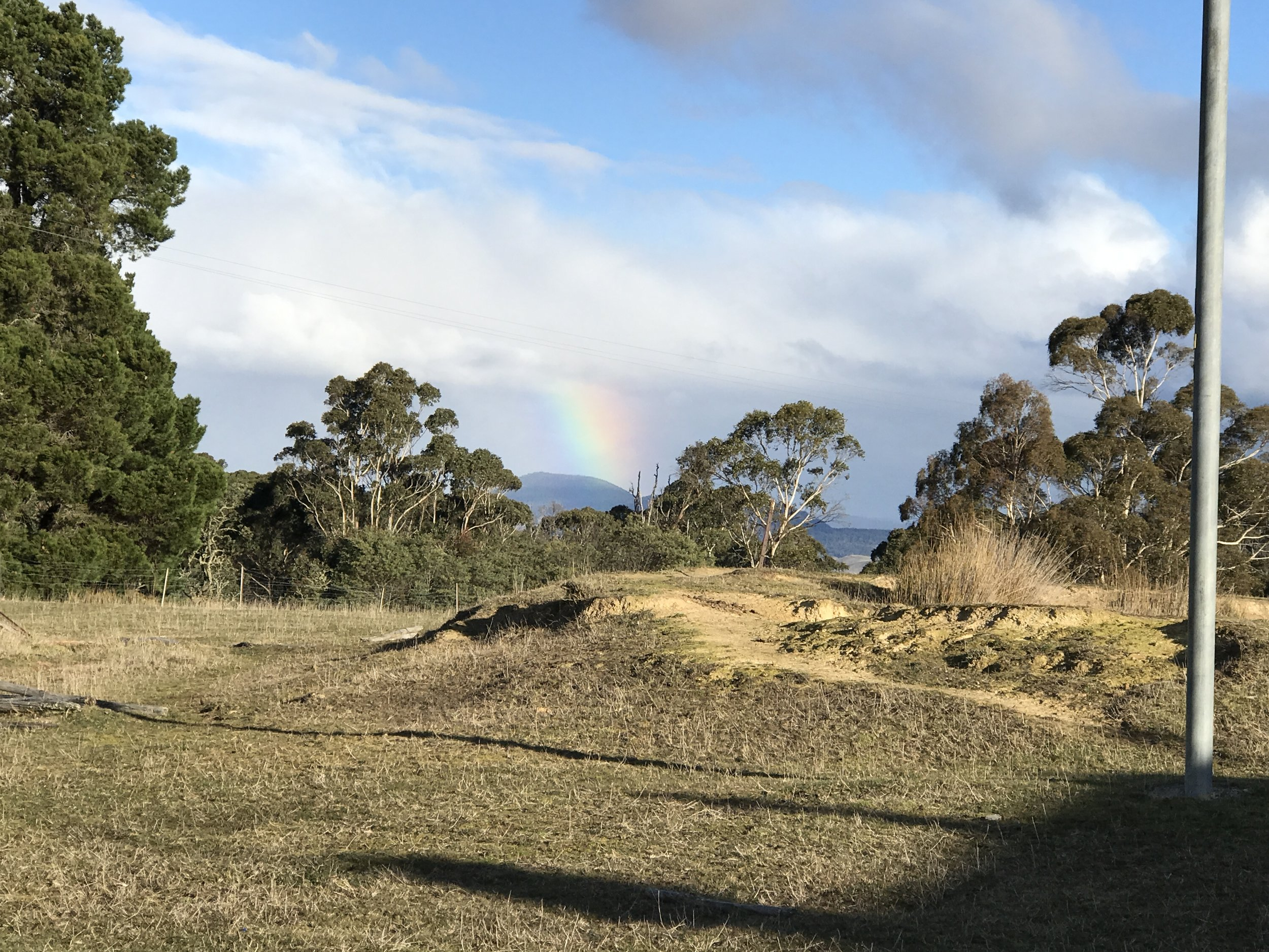 Rainbow seen in Rhyndaston and in Cole River Valley.
