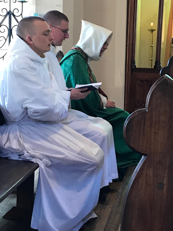 Chanting Terce before High Mass.