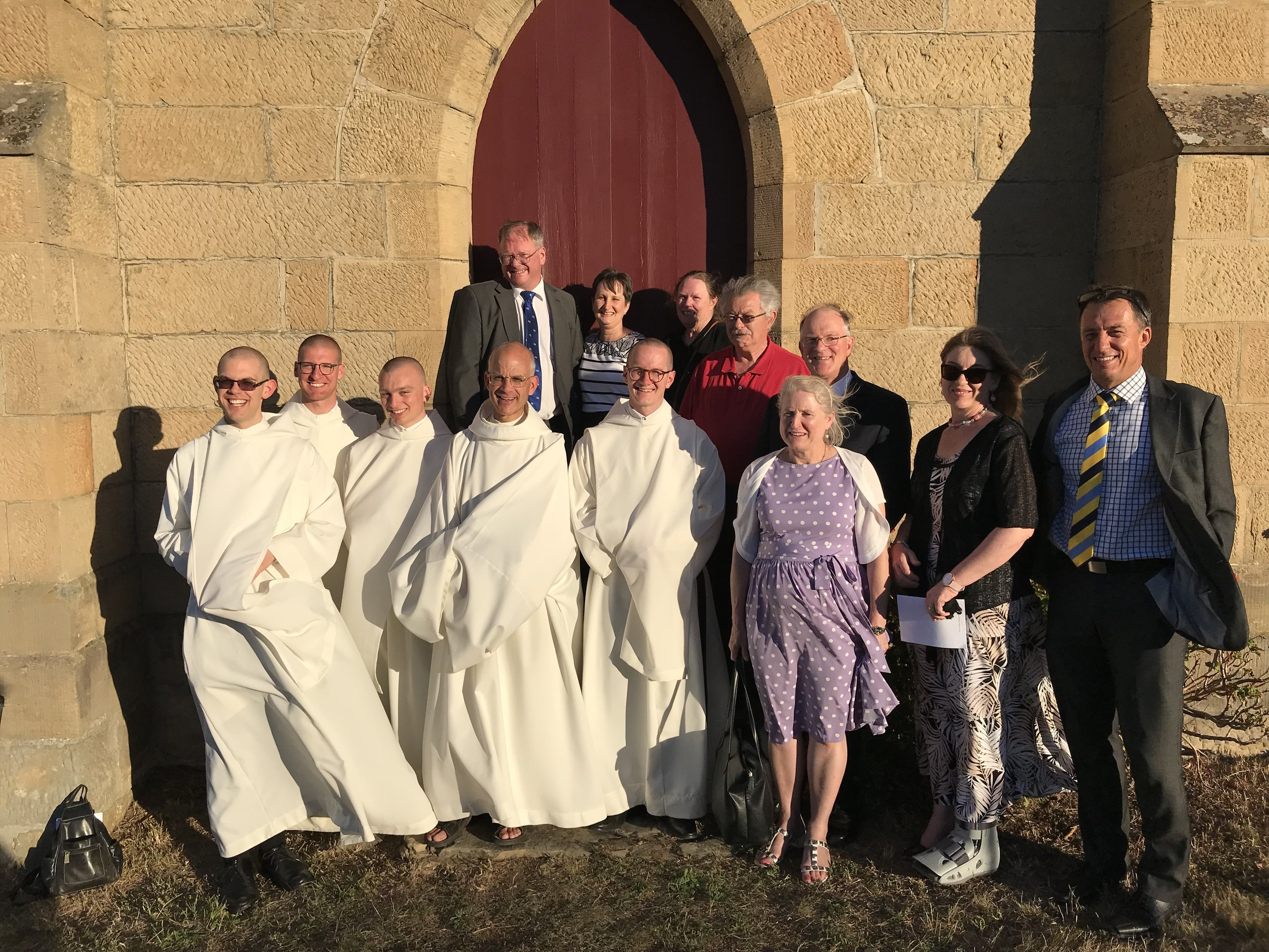 Father Prior with the new novices and their parents.