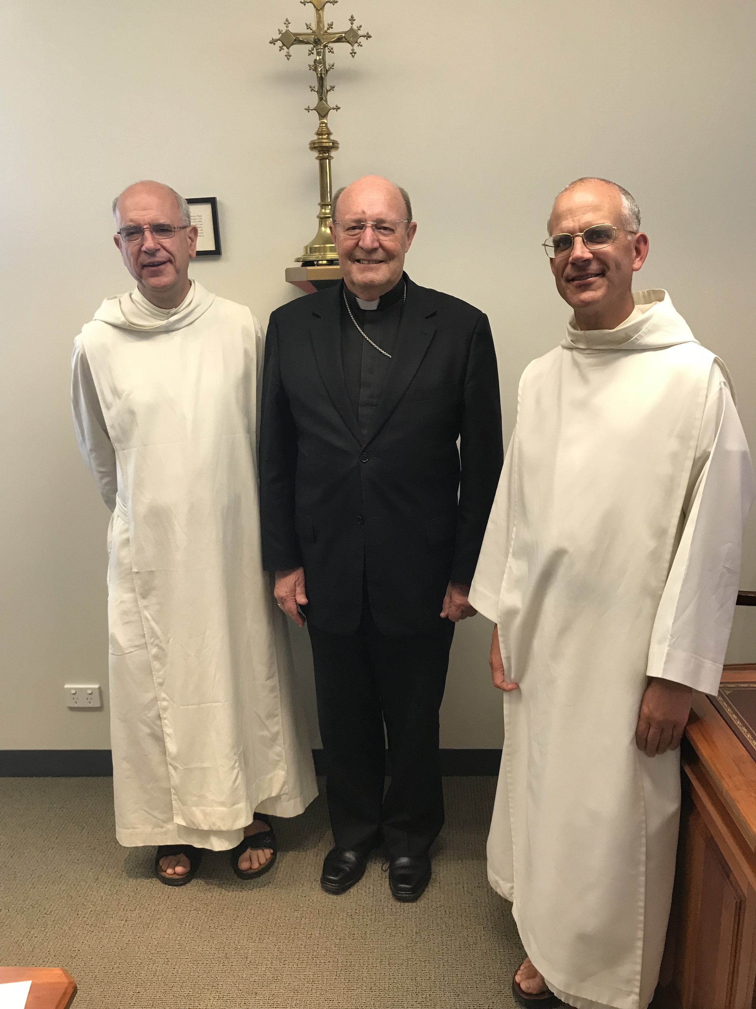 Archbishop Porteous with Fr Prior and Fr John from Flavigny.