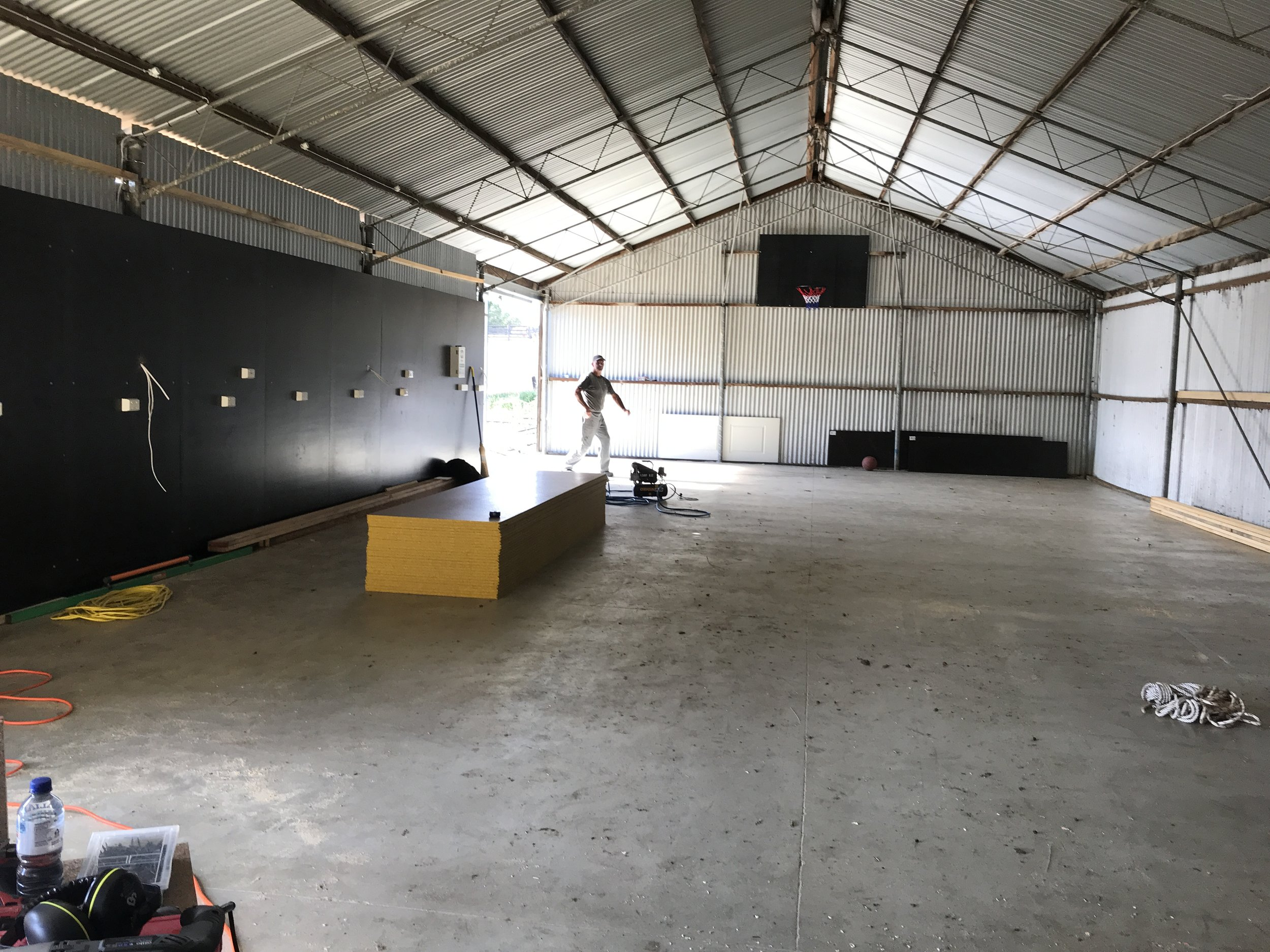 Completed concrete floor of future work shed.