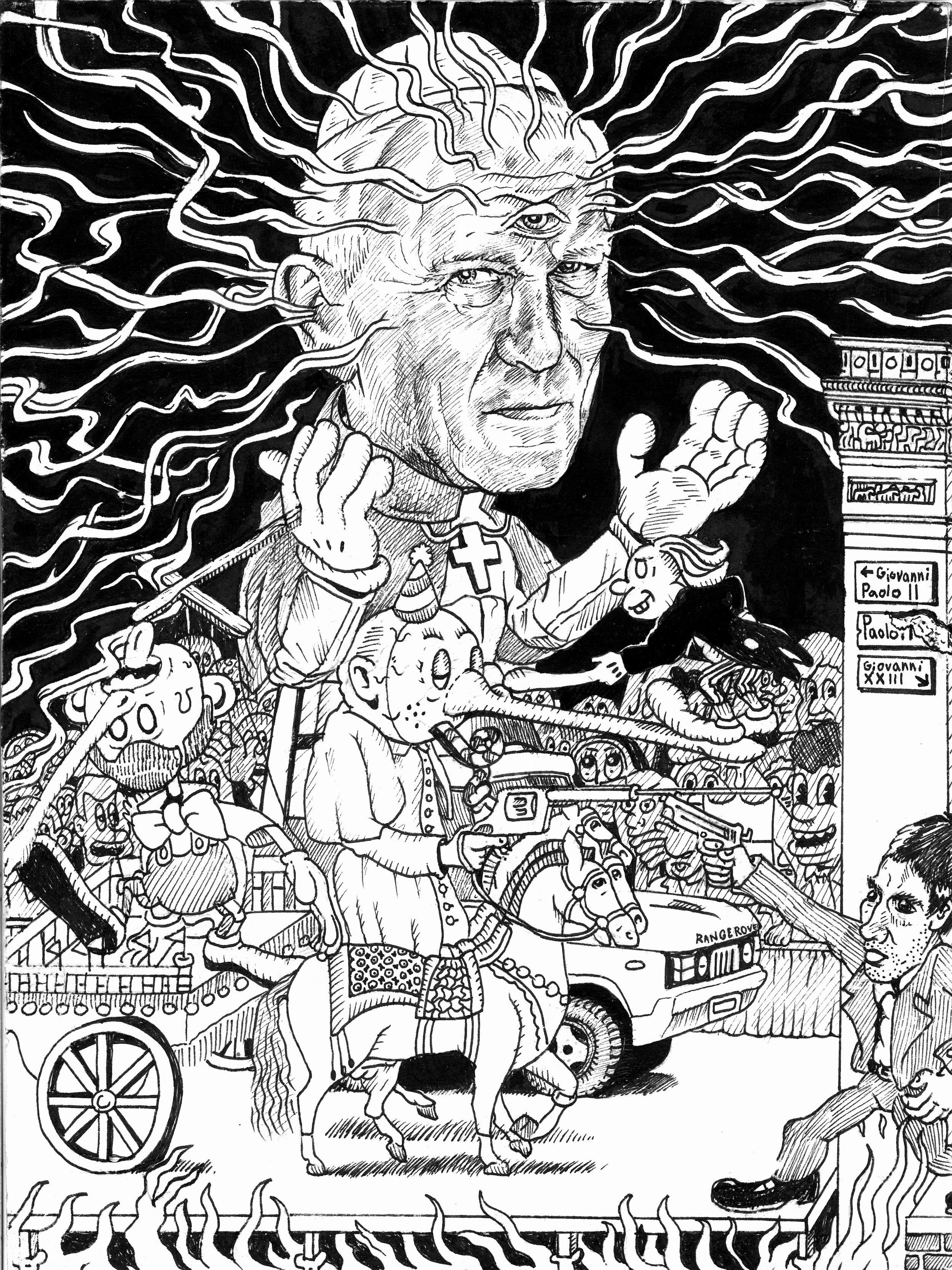 Papas Being Papas (Detail of Pope John Paul II)