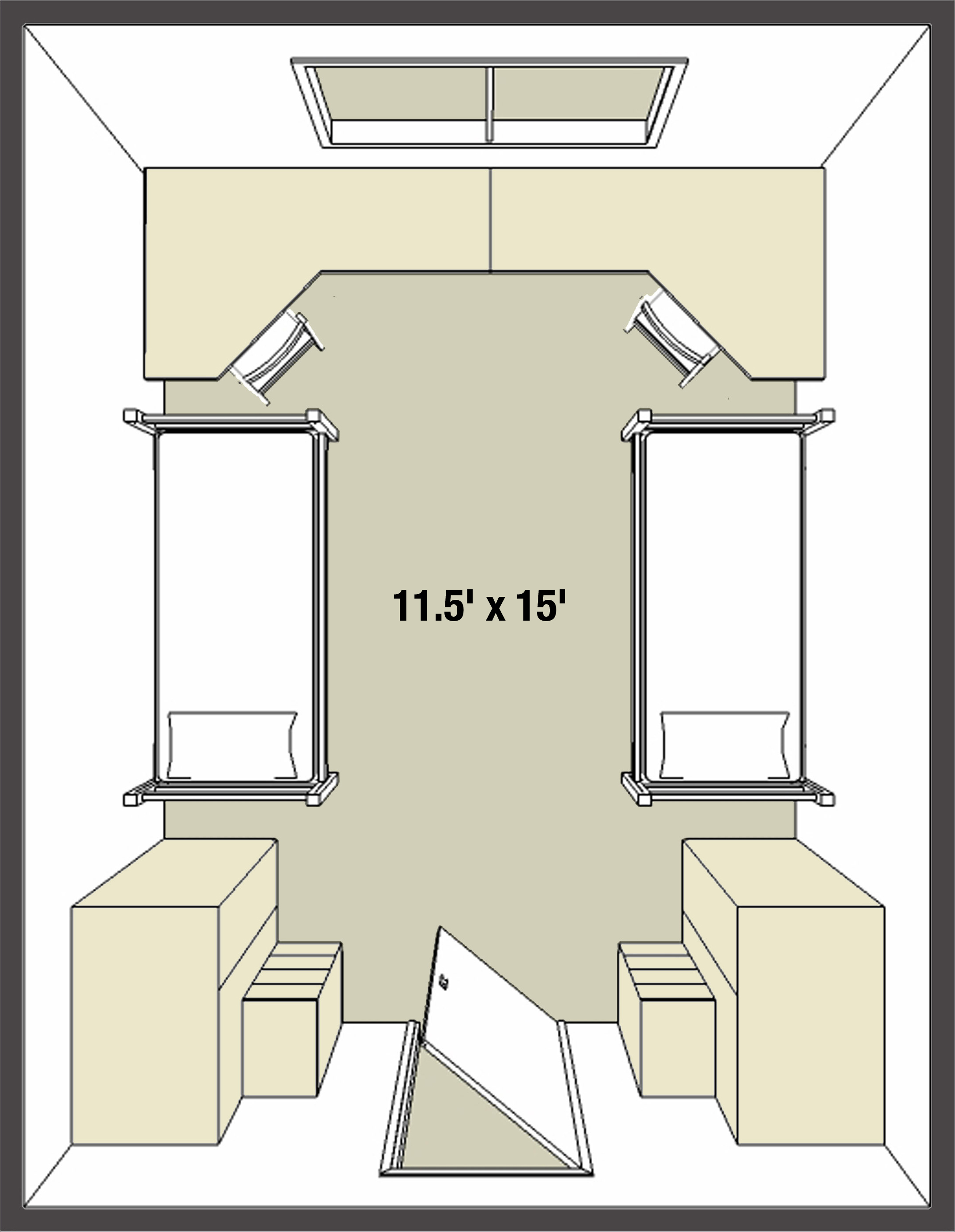 Forest Halls dorm room basic layout example I, double room