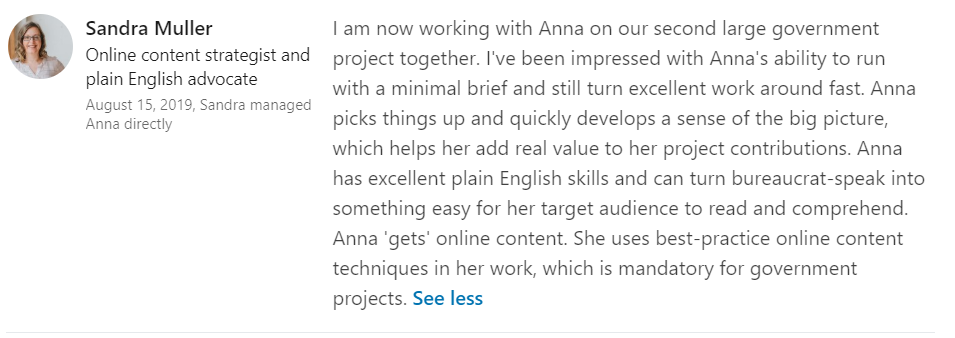 Feedback about Anna Rogan