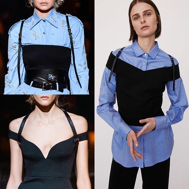 What you order online vs. when it arrives lol.  Catching up on Resort 2020 shows on Vogue runway and couldn't help but see the @prada FW19 styling cues at @robertrodriguezstudio (don't miss the crystal buttons on their version either). • #prada #miucciaprada #fw19 #mfw #milanfashionweek #robertrodriguez #resort2020 #styling #backpack #straps #saffiano #leather #buckle #blueshirt #olivierrizzo #layering #offtheshoulder #belt #gigihadid #dress #rhinestones #crystals #sparkle #bling #blue #wiwt #ootd #dietprada
