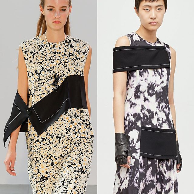 Phoebe-isms still going strong in the women's collections.  Are we seeing things or is this @31philliplim Resort 2020 look reminiscent of Céline SS15 and those very specific collaged black panels with contrast topstitching against a print? • #31philliplim #31phillipline #celine #phoebephilo #floral #ikat #print #dress #collage #abstract #silk #floralprint #topstitching #contrast #blackandwhite #resort #resort2020 #longlivephoebephilo #pfw #parisfashionweek #nyfw #contemporary #luxury #wiwt #ootd #lookalike #dietprada