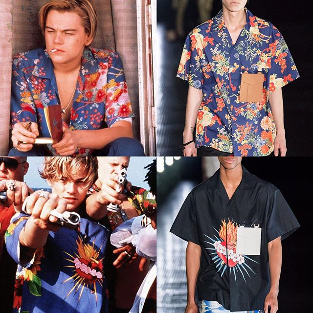 "Resurrecting iconic costumes of cinema...yay or nay? @palmangels SS20 references not one, but two shirts worn by Leonardo DiCaprio in Baz Lurhmann's 𝘙𝘰𝘮𝘦𝘰 & 𝘑𝘶𝘭𝘪𝘦𝘵 from 1996. With the ubiquity of Hawaiian shirts, it's sometimes difficult to distinguish the endless variations of patterns, but the combo of Japanese style chrysanthemums, wisteria, and cording against ultramarine blue are a dead ringer for the one worn on screen by Leo...ditto the pierced, flaming heart. Cinema throughout history has shown a lot of love for the Aloha shirt, but 1953's 𝘍𝘳𝘰𝘮 𝘏𝘦𝘳𝘦 𝘵𝘰 𝘌𝘵𝘦𝘳𝘯𝘪𝘵𝘺 was one of the earliest. The 1940s prints featured are some of the most beautiful of their kind, which is probably why @prada 's SS12 ""Menacing Paradise"" collection referenced one in particular.  Worn by Montgomery Clift in a tragic scene, the shirt produced by Kahanamoku became popular among collectors who referred to it as ""the death shirt"" 💀. ⠀⠀⠀⠀⠀⠀⠀⠀⠀ Film Clips: 𝘍𝘳𝘰𝘮 𝘏𝘦𝘳𝘦 𝘵𝘰 𝘌𝘵𝘦𝘳𝘯𝘪𝘵𝘺 © Columbia Pictures, 𝘙𝘰𝘮𝘦𝘰 & 𝘑𝘶𝘭𝘪𝘦𝘵 © 20th Century Fox (costumes by @kymbarrett.design) ⠀⠀⠀⠀⠀⠀⠀⠀⠀ • #palmangels #francescoragazzi #mfw #milanfashionweek #milan #menswear #mensfashion #costumedesign #kymbarrett #romeoandjuliet #bazluhrmann #leonardodicaprio #romeo #hawaiian #hawaiianshirt #alohashirt #prada #fromheretoeternity #prada #miucciaprada #montgomeryclift #wiwt #ootd #cinema #film #movies #dietprada"