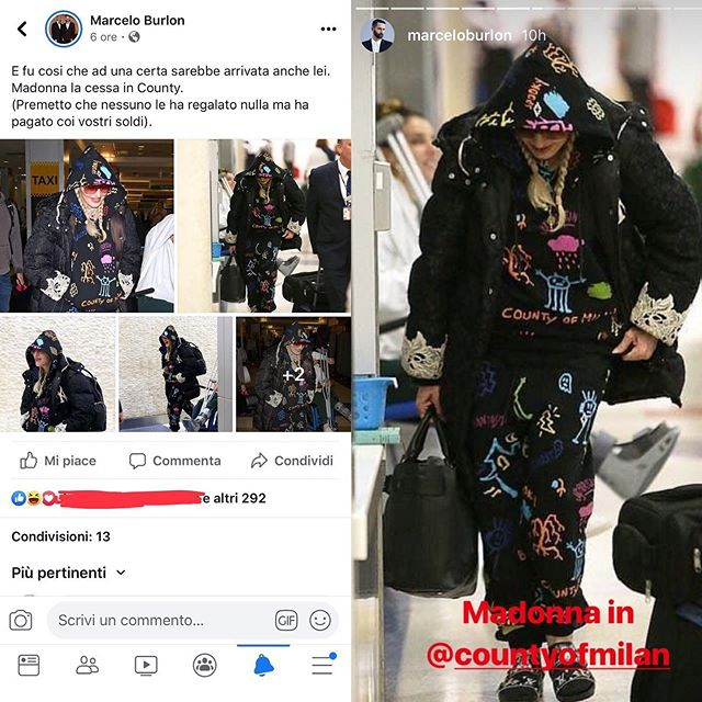 "@marceloburlon proving to be human garbage. Yesterday in Facebook post, the designer captioned a photo set of @madonna wearing the brand. An approximate translation reads: ""And the time finally came that Madonna, la cessa, wore County [of Milan]. I want to guarantee that nobody has given her anything for free, but that she paid with your money."" ""La cessa"", is an Italian slang word that basically means human toilet or to say that someone is ugly as f**k.  After deleting the Facebook post, Burlon began publicizing those same photos on Instagram stories 🙄🤮. Dieters, time to file him and his brand along with the other woman-shaming misogynist designers (Stefano and Philipp Plein, we're looking at you). Swipe ▶️ for his lame ass apology plus some cringey hypocrisy. • #marceloburloncountyofmilan #marceloburlon #countyofmilan #mfw #milanfashionweek #menswear #mensfashion #streetstyle #hypebeast #streetwear #misogyny #misogynist #hypocrite #lame #garbage #jerk #loser #madonna #madge #hoodie #sweatpants #logo #graffiti #wiwt #ootd #airportstyle #dietprada"