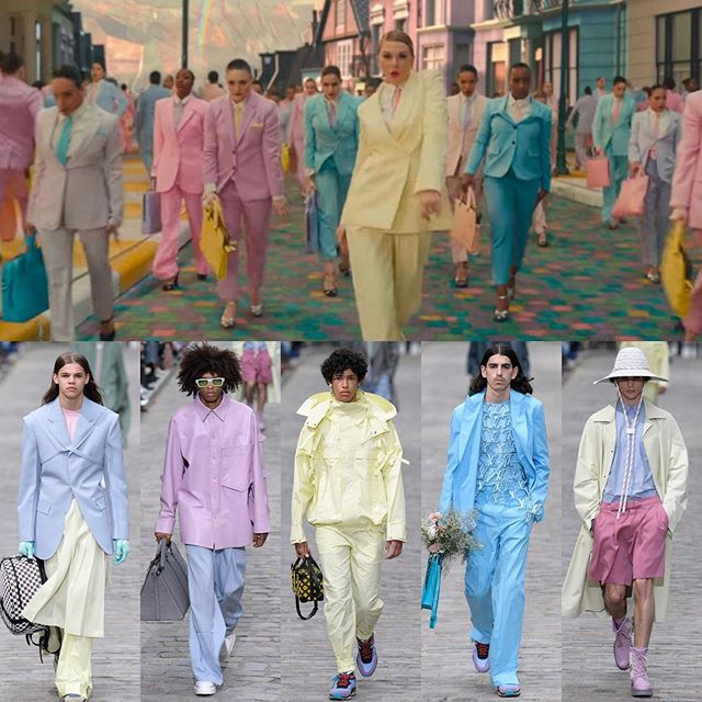"Some Tay Swift inspo for the @louisvuitton SS20 menswear collection? Lol jk. Not gonna lie... it was kinda cute, BUT we all know a Virgil collection never comes without some overt ""references"". From Stefano Pilati's logo vest for YSL to Craig Green's signature wearable tent/kite sculptures and self-fabric ties, plus...shades of Raf... and Phoebe? Swipe to see what we found. Dieters, did we miss anything? • #craiggreen #ysl #louisvuitton #virgilabloh #ss2020 #menswear2020 #stefanopilati #rafsimons #phoebephilo #celine #pastels #trend #suiting #suit #golf #me #taylorswift #🐍 #offwhite #oversized #oldceline #tailoring #ootd #wiwt #dietprada"