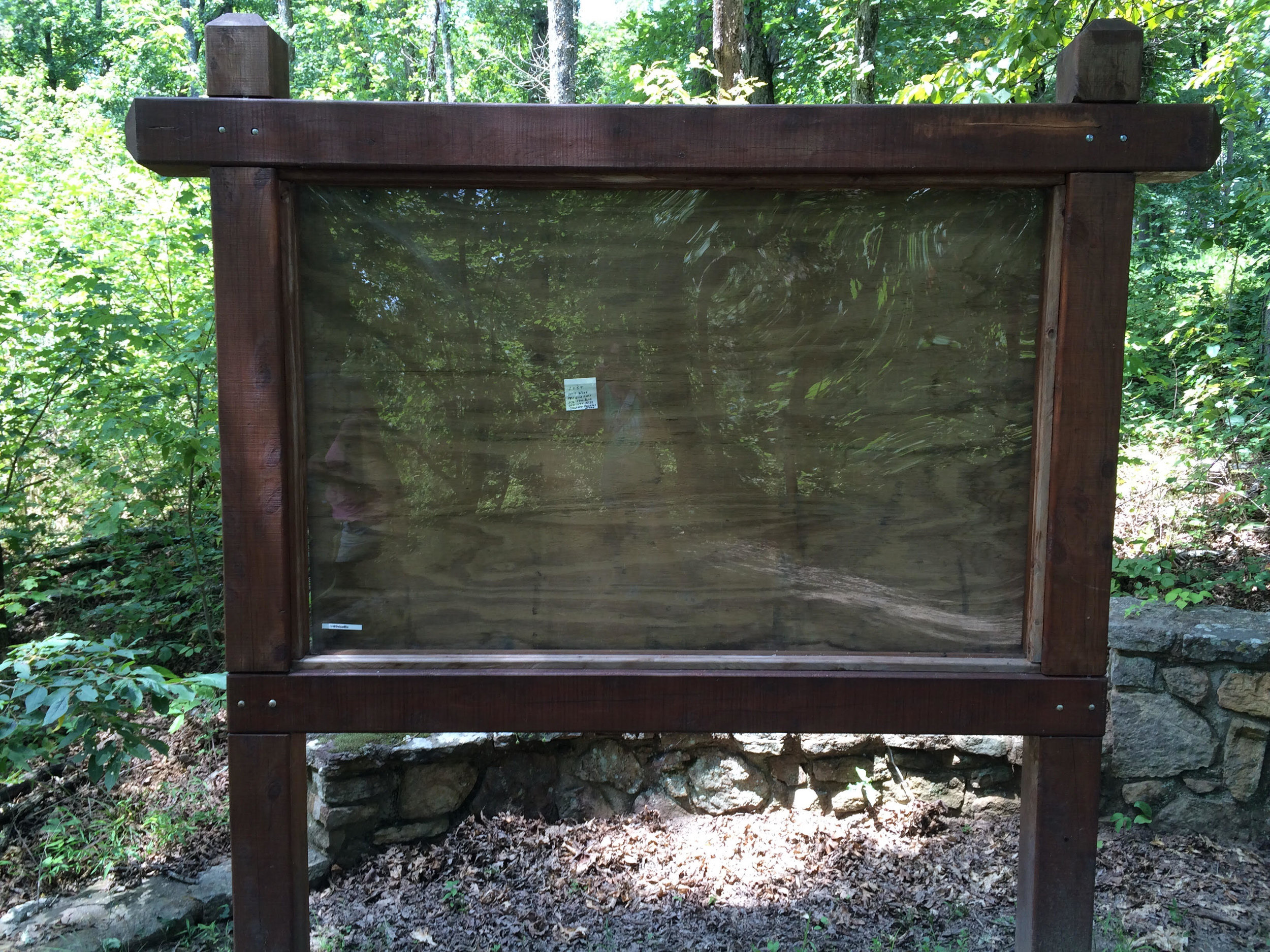 This information board at the trailhead represents the helpfulness of the Arkansas people.