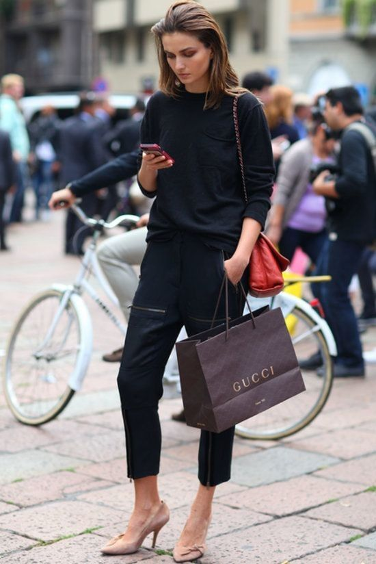 * Recreate this look with the  Ella top  in black and 7/8 cigarette pant coming soon!!