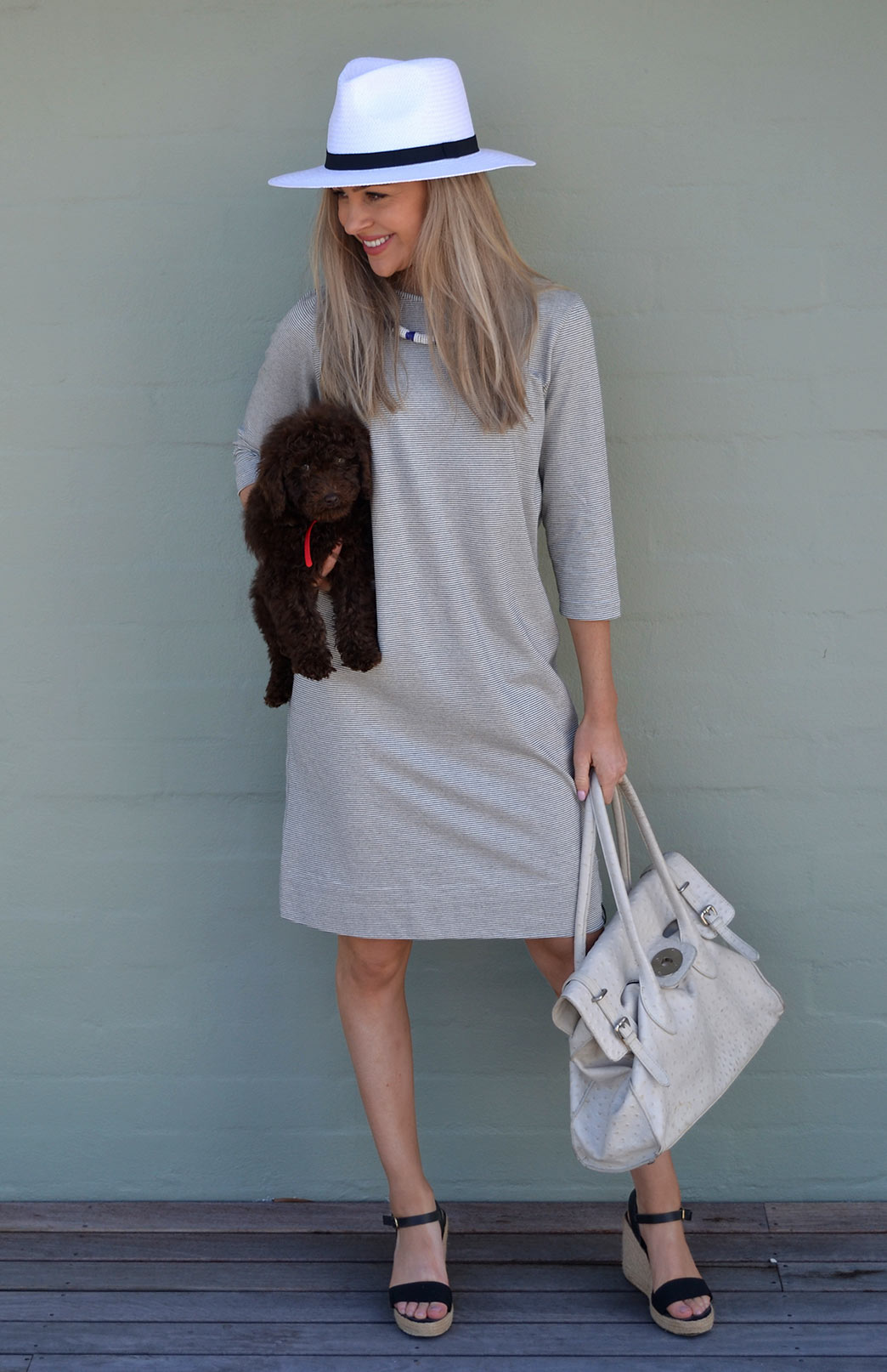 AND PUPPIES...  featuring the  Audrey dress  in pinstripe. SO CHIC x