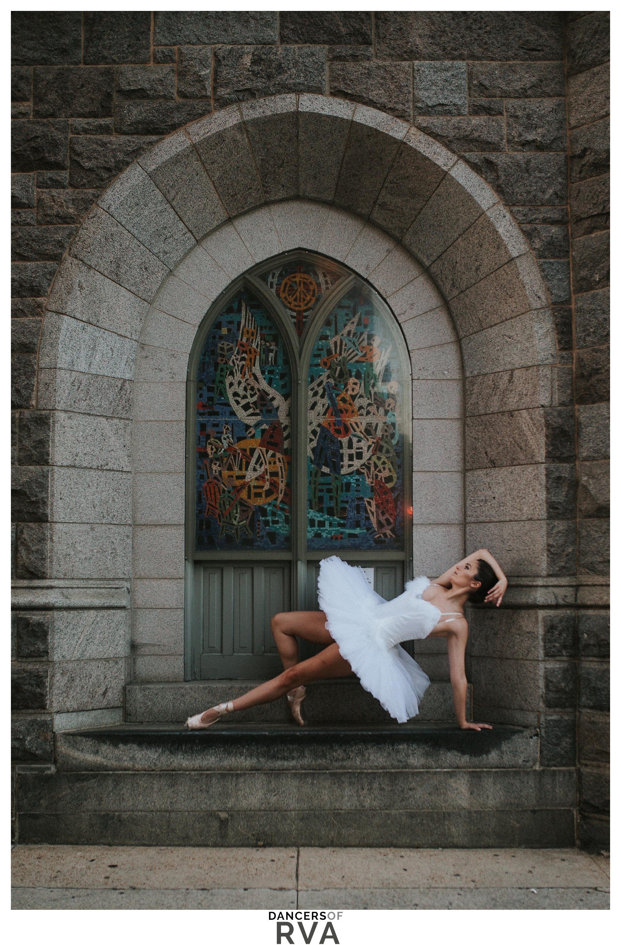 Richmond VA Ballet Dancer VCU Downtown Dance Session Dancer in front of stain glass