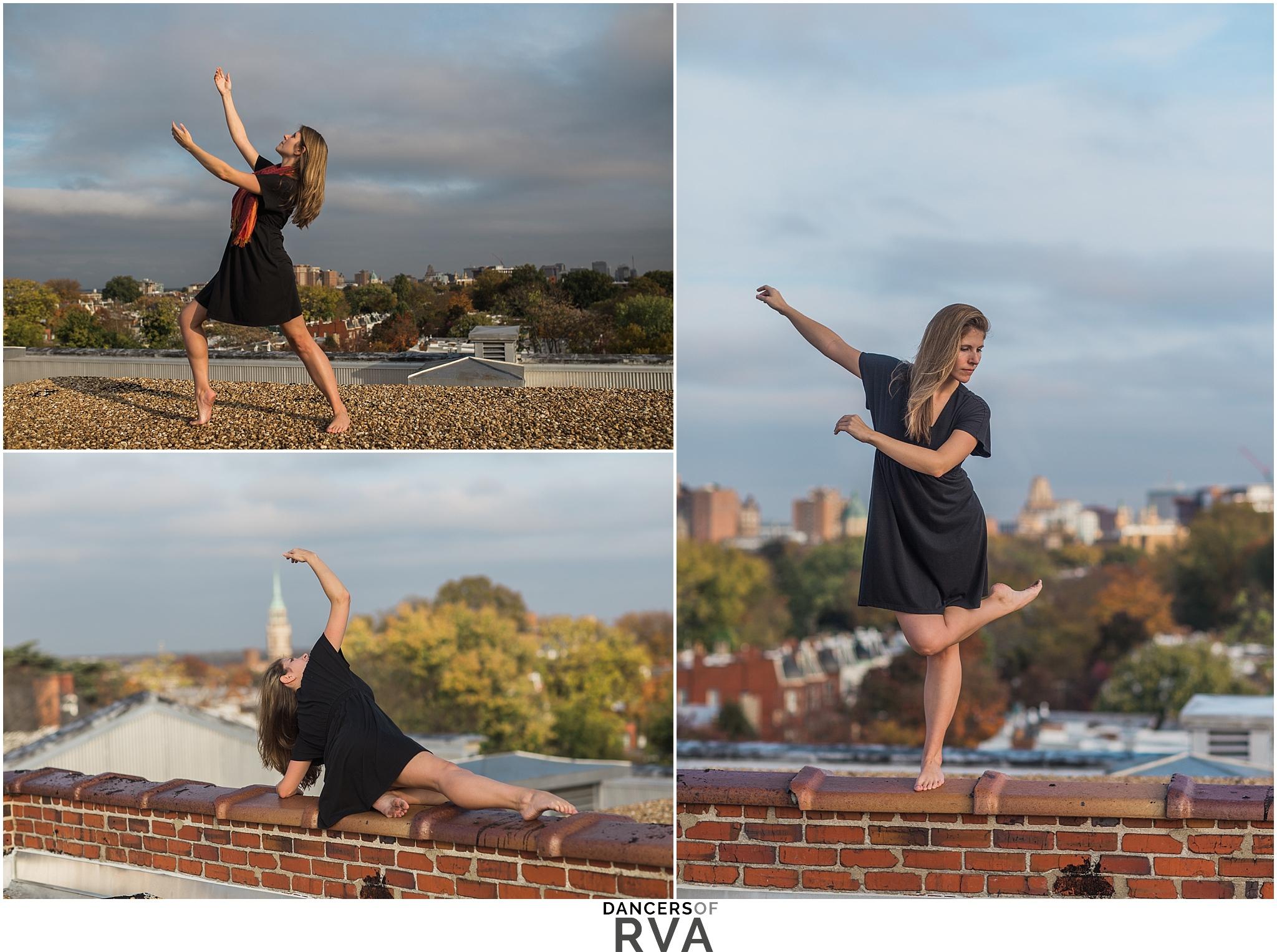 Binford Dance Teacher modern dance routine on roof top of Binford in downtown, Richmond VA.
