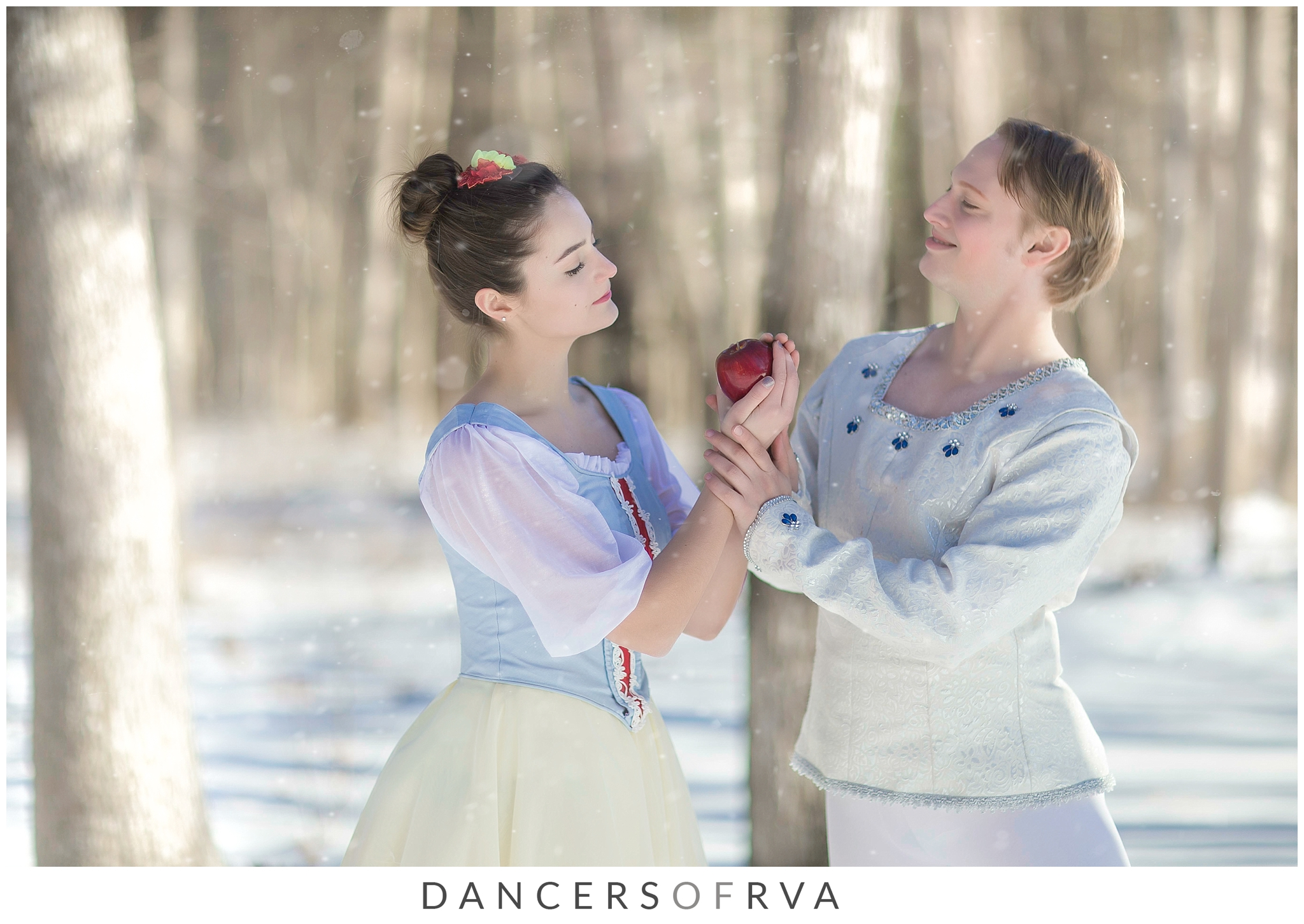 Richmond ballet dancers dance in snow Snow white theme shoot Stavna ballet