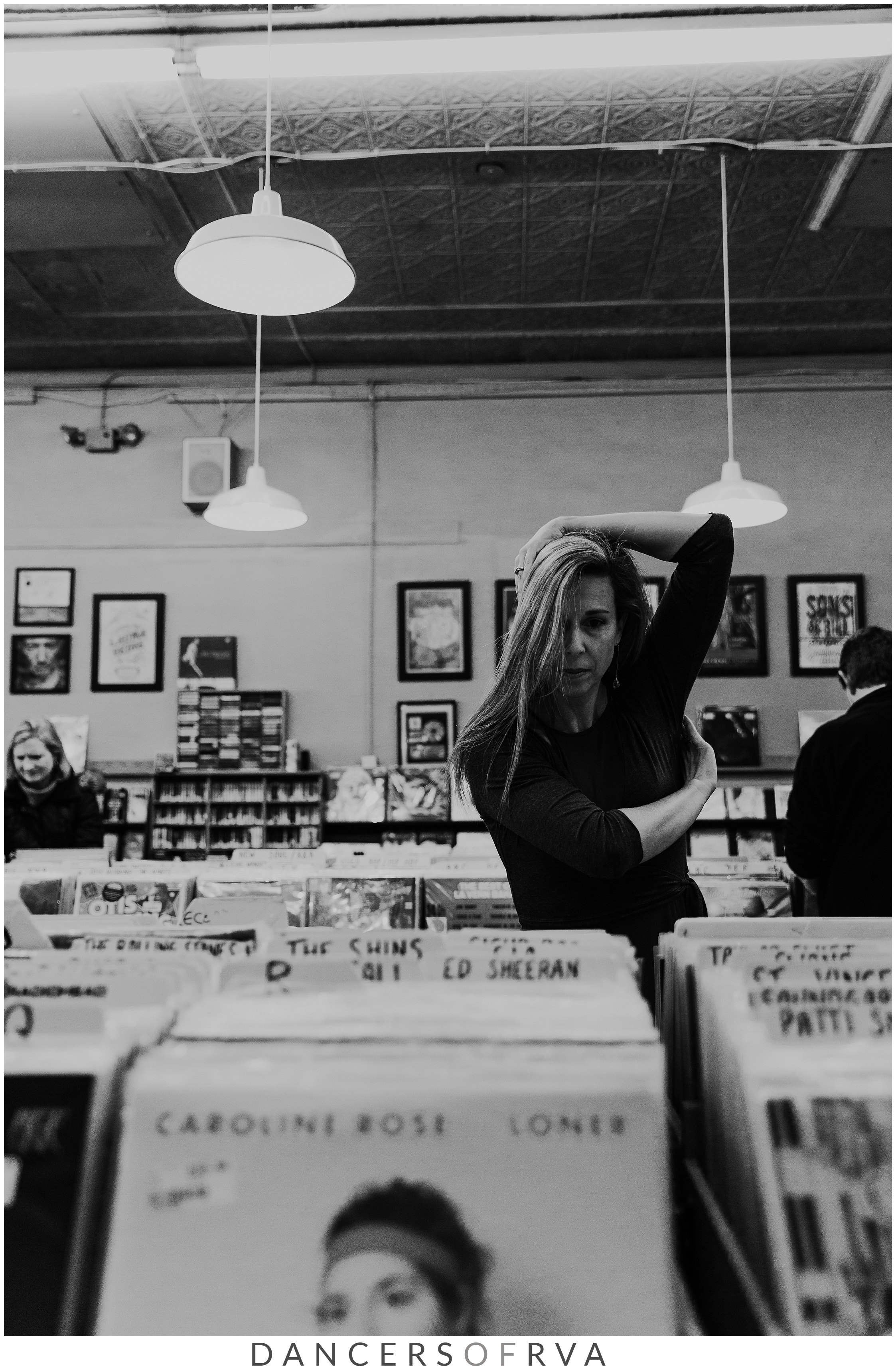 Dancer at planet 9 record store in Carytown