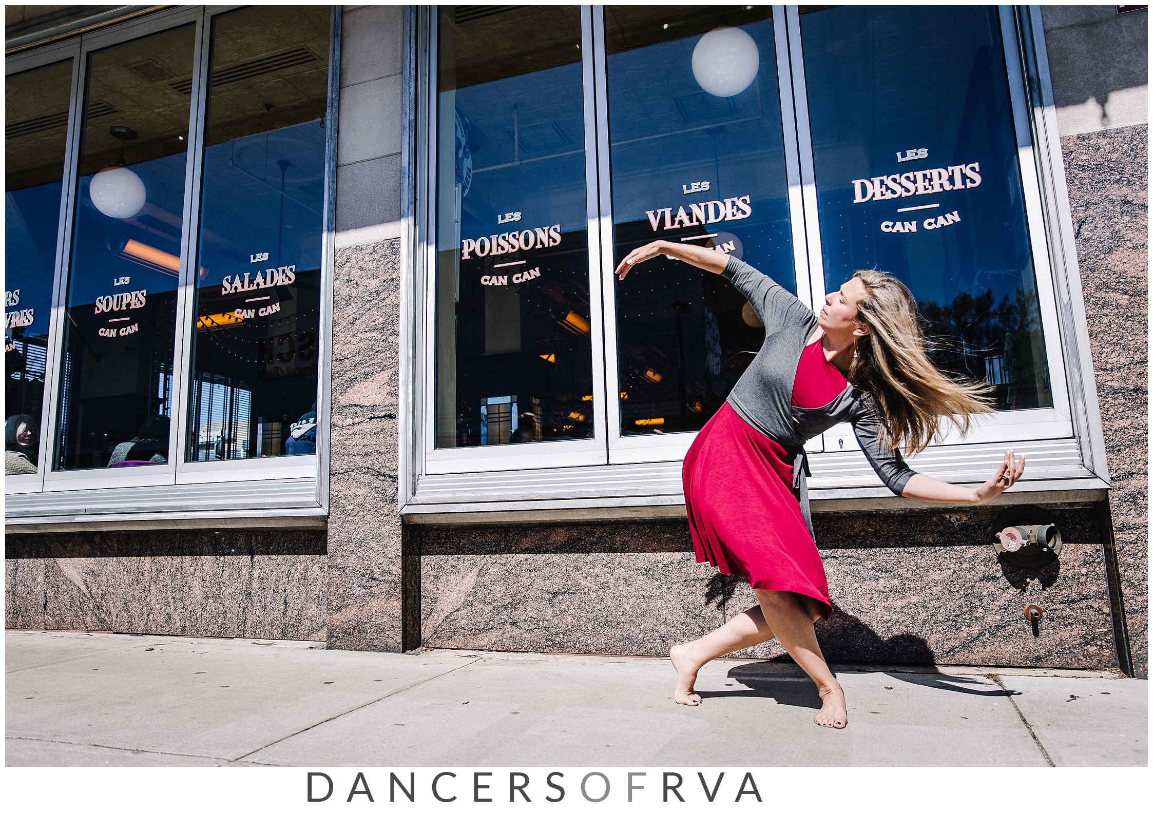 Dancer in Carytown in front of the Can Can restaurant