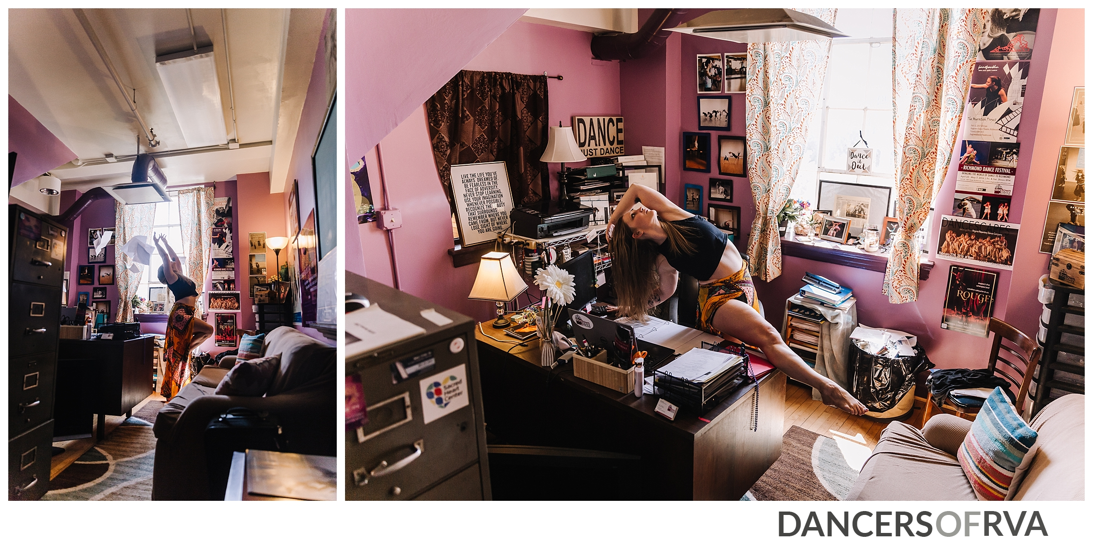 RVA Boss Babe Jess Burgess dancing in her office