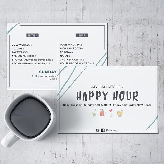 Happy Friday! Our Happy Hour menu officially launches today. Enjoy sips & bites at $4, $5, & $6. #cheers