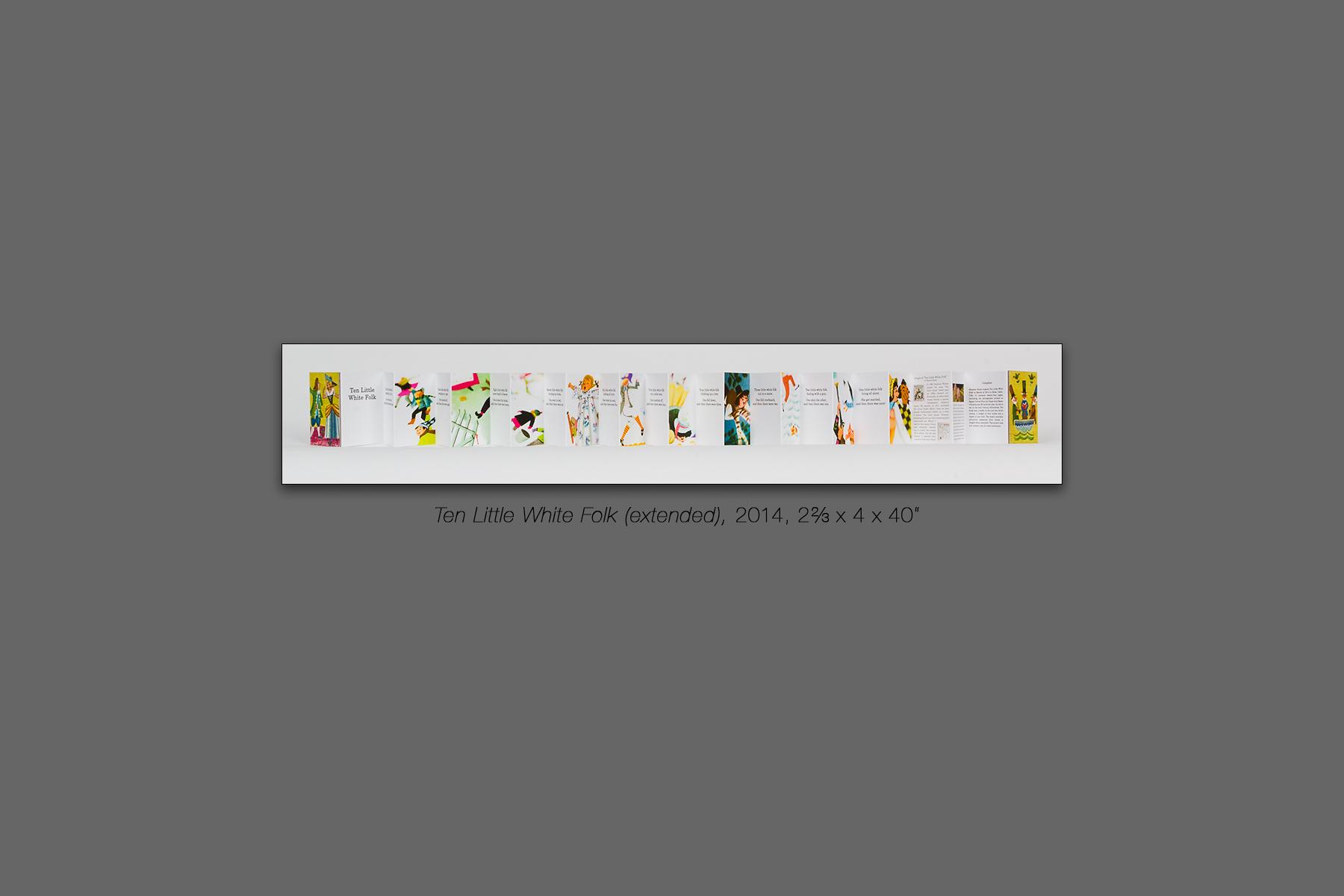 """Ten Little White Folk (extended), 2014, 2⅔ x 4 x 40"""""""