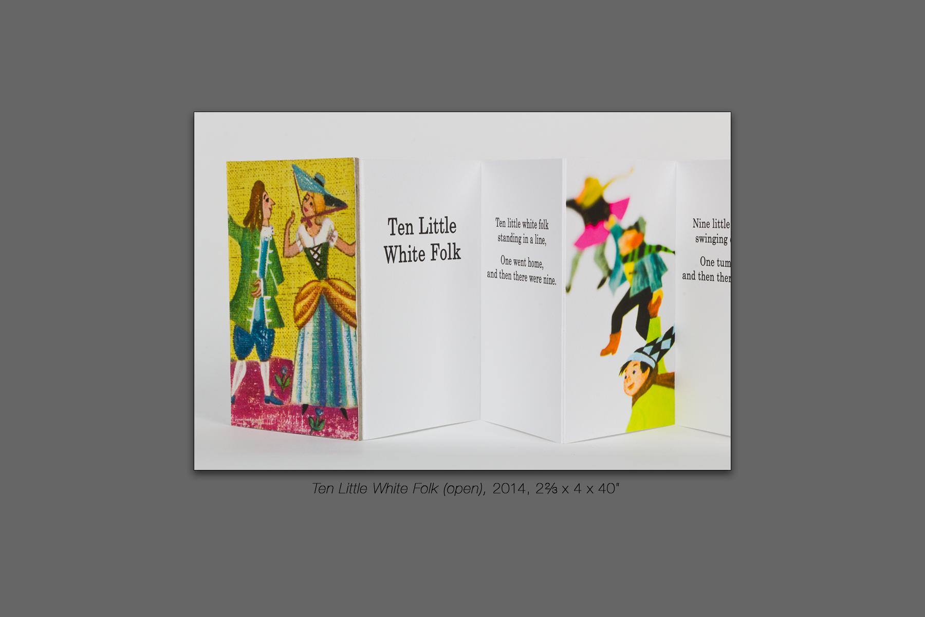 """Ten Little White Folk (open), 2014, 2⅔ x 4 x 40"""""""
