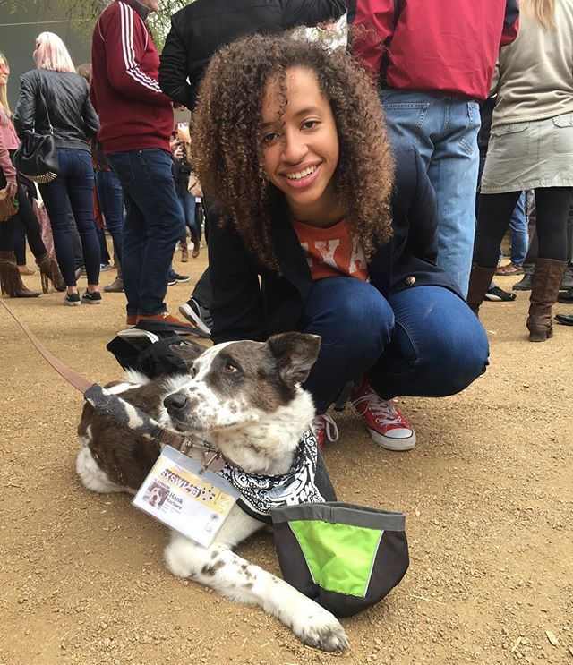 Jackie Venson with Hank aka @tripawhank at Hair of the 3 Legged Dog @austinchronicle Party! #sxsw #goodpartyatx #adoptdontshop #austindogs