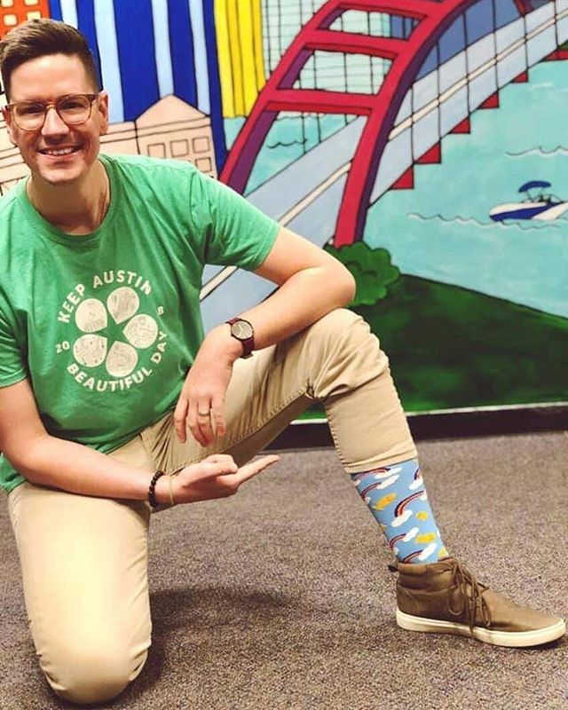 Our pal Trevor Scott reminds us that today is #WorldDownSyndromeDay! He's rockin' the @rubysrainbow custom @pridesocks in honor of the day. Ruby's Rainbow provides scholarships to adults with Down Syndrome to help them achieve their dreams of higher education. Donate $21 to help them meet their goal by the end of today, let's do this! 🌈🌈🌈321pledge.org 📸 @trevorscottatx . . . #321pledge #giveadamn #wds2019 #austingives #bethechange #helpothers #atx #igaustin #atxlife #austinlife #atxblogger