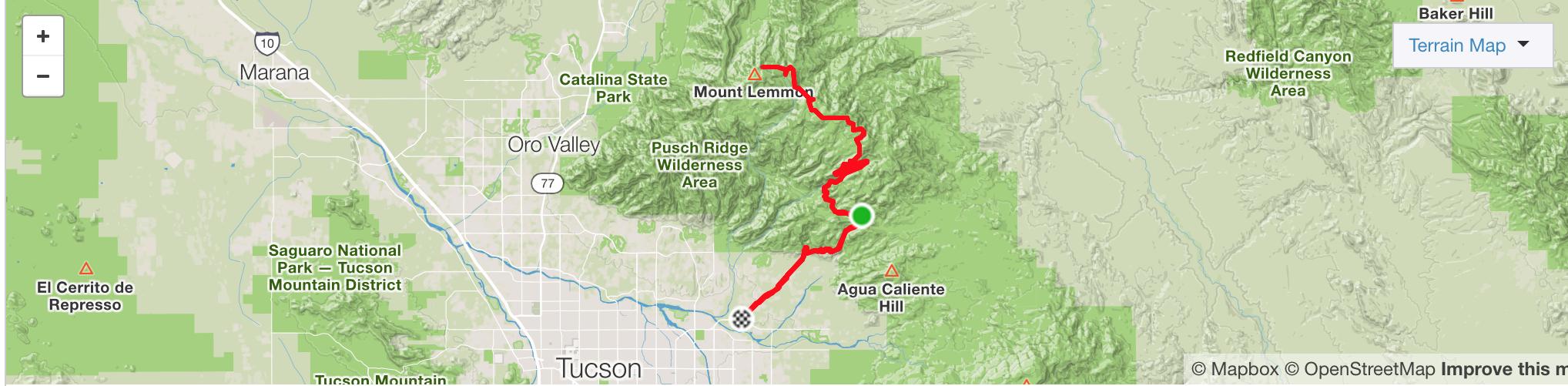 Mt Lemmon Strava Map