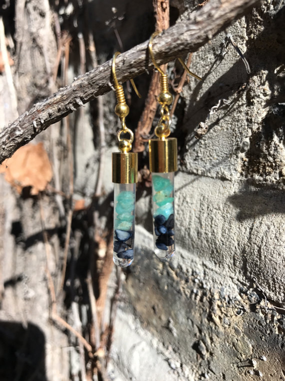 Amazonite and Black Abalone Shell Vial Earrings by Hand in Hand Love