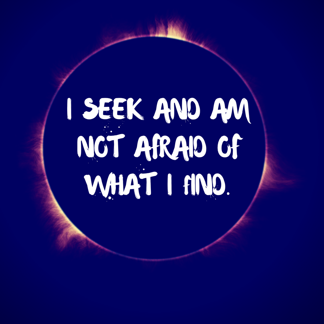 I Seek and Am Not Afraid of What I Find.